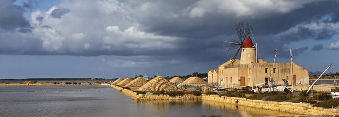 Italy, Sicily, Marsala (Trapani), Mozia salt flats and windmill