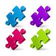 Puzzle 3d pie vector icons set