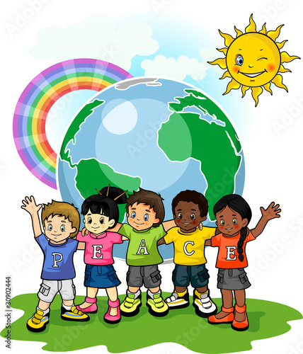 Poster Regenboog Children united world of peace