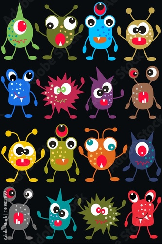 Plexiglas Schepselen seamless monster pattern