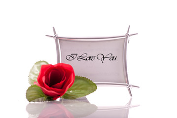 I Love You in Photo Frame with Rose