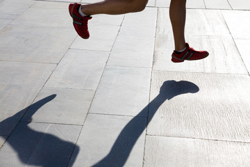 running foots and shadow