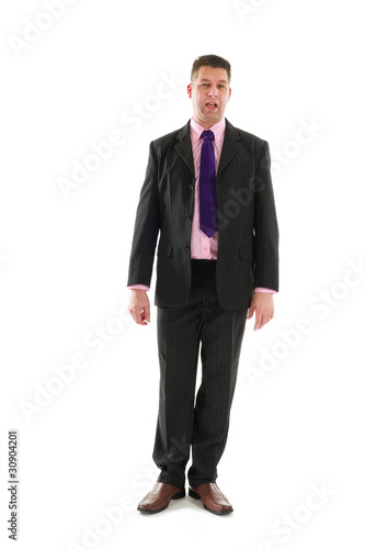 Standing business man with open mouth