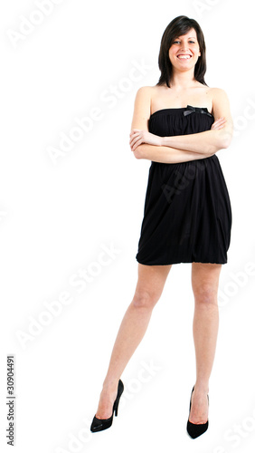 Beautiful woman in mini dress isolated on white