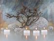 Zweig, Steine, Kerzen