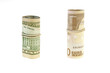 rolls of euro and dollar on a white background