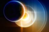 Abstract planet backup on big hard disk poster