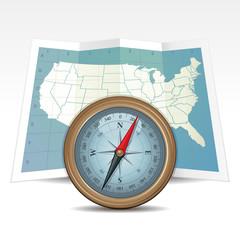 Compass and USA Map