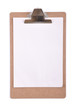 Clipboard with a sheet of white paper isolated on white.