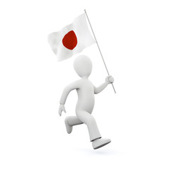 Illustration of a 3d man holding a japenese flag