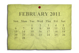 Calendar february 2011 on old Crumpled paper poster
