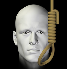 suicidal man and hanging noose 3d illustration