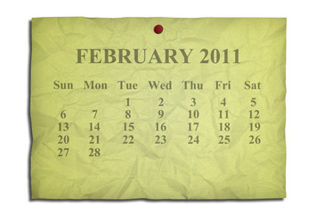 Calendar february 2011 on old Crumpled paper
