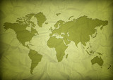 crumpled vintage world map poster