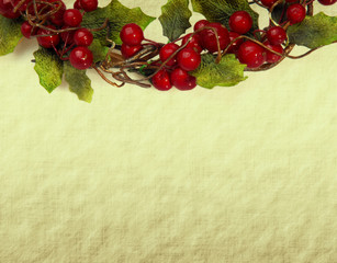 cherry framework of christmas decorations on paper .