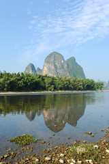 Karst mountain landscape in Yangshuo Guilin, China .