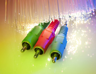 media plug and hub with fiber optical background .