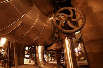 Industrial zone, Steel pipelines in brown tones