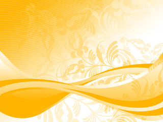 Yellow Swirl Flourish Background