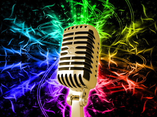 Golden Microphone on rainbow background
