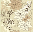 Seamless floral background with contour flowers and plants