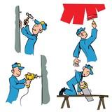 Cartoon set of workman doing different DIY chores poster