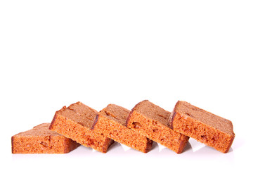 slices of gingerbread isolated over white background