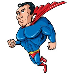 Cartoon Superman with huge chest