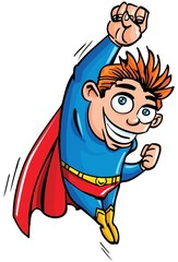 Cute cartoon Superboy flying up