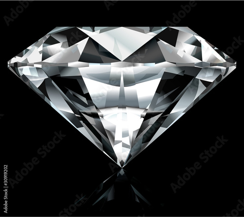 Realistic diamond illustration on black background