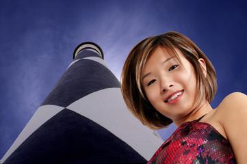 Asian Woman at a Lighthouse