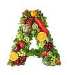 Fruit and vegetable alphabet - letter A