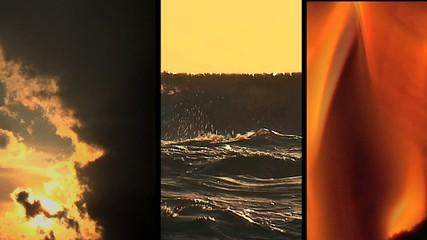 Tre elementi - aria - acqua - fuoco - composizione