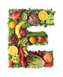 Fruit and vegetable alphabet - letter E