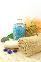 Spa background with towels and bath salts