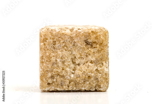 Macro shot of brown sugar cube