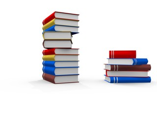 colorful Books on white background