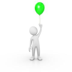 Man holding a green balloon