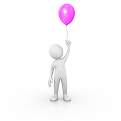 Man holding a purple balloon