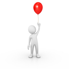 Man holding a red balloon