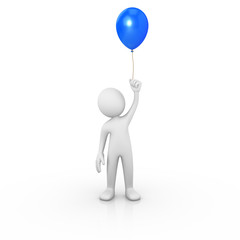 Man holding a blue balloon