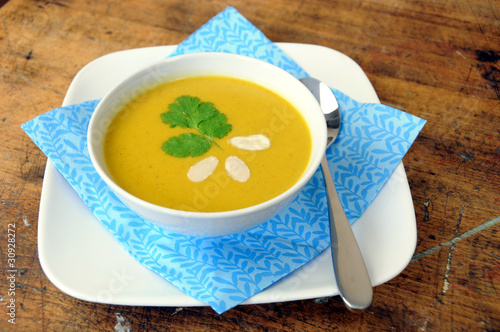 Full view of bowl of squash soup
