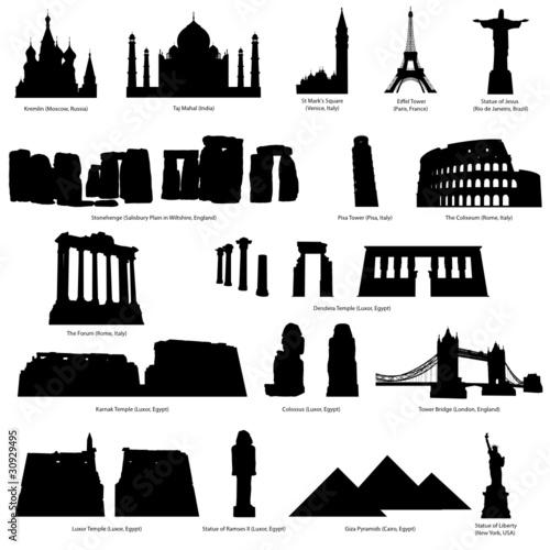 landmark silhouette set