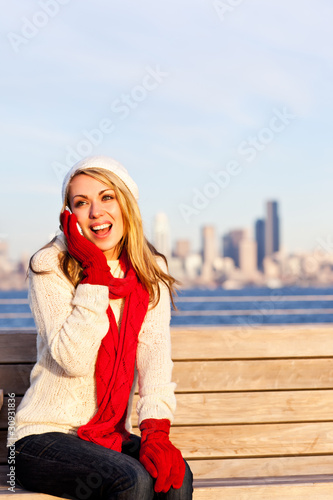 Caucasian woman on the phone
