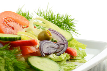 Composition with vegetable salad with olives