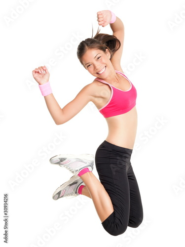 Weight loss fitness woman jumping - 30934216