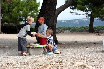 Children play market outside