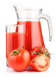 Jug, glass of tomato juice and vegetables isolated