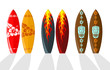 Set of vector surf boards