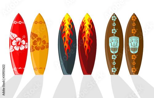 Fototapeta Set of vector surf boards